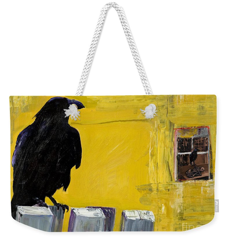 Pat Saunders-white Canvas Prints Weekender Tote Bag featuring the painting Watching by Pat Saunders-White