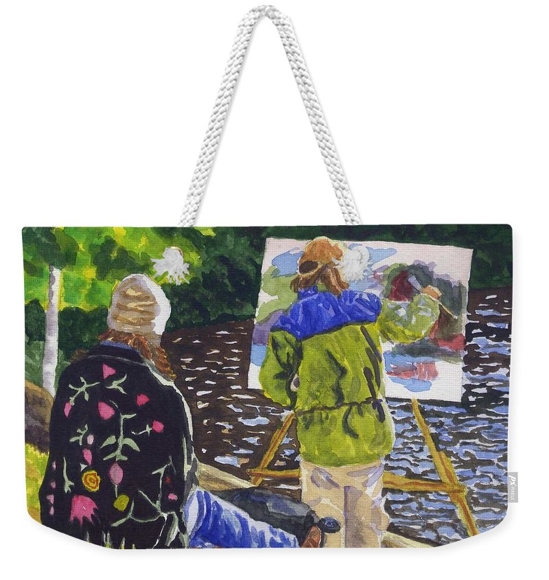 Artist Weekender Tote Bag featuring the painting Watching The Maestro by Sharon E Allen