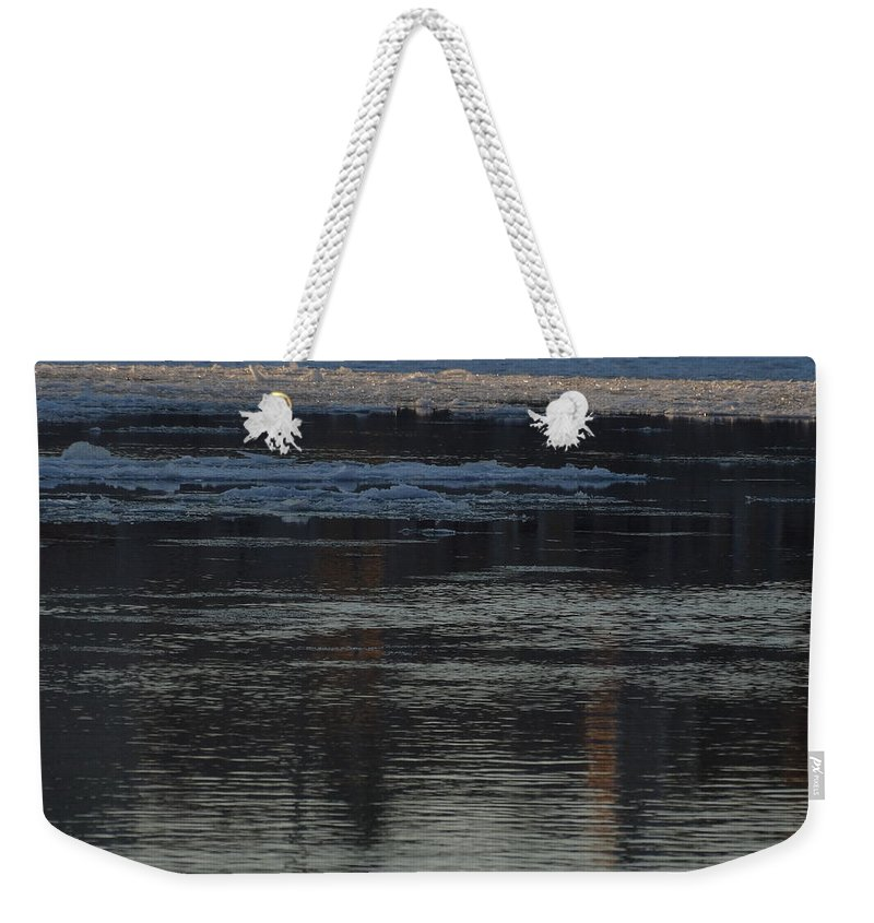 Danube Weekender Tote Bag featuring the photograph Water And The Ice - Icy River Danube by Explorer Lenses Photography