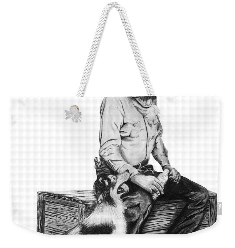Water Break Weekender Tote Bag featuring the drawing Water Break by Peter Piatt