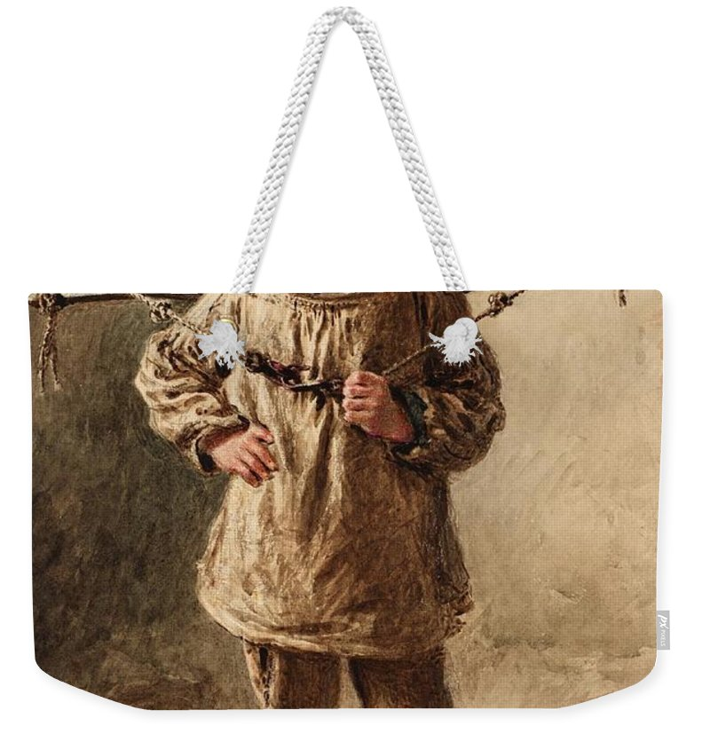 William Henry Hunt A Water Carrier Weekender Tote Bag featuring the painting Water Carrier by William Henry