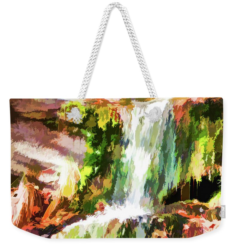 Alone Weekender Tote Bag featuring the painting Water Cascading by Jeelan Clark
