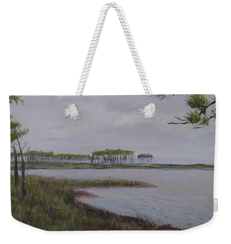 Landscape Beach Coast Tree Water Weekender Tote Bag featuring the painting Water Color by Patricia Caldwell