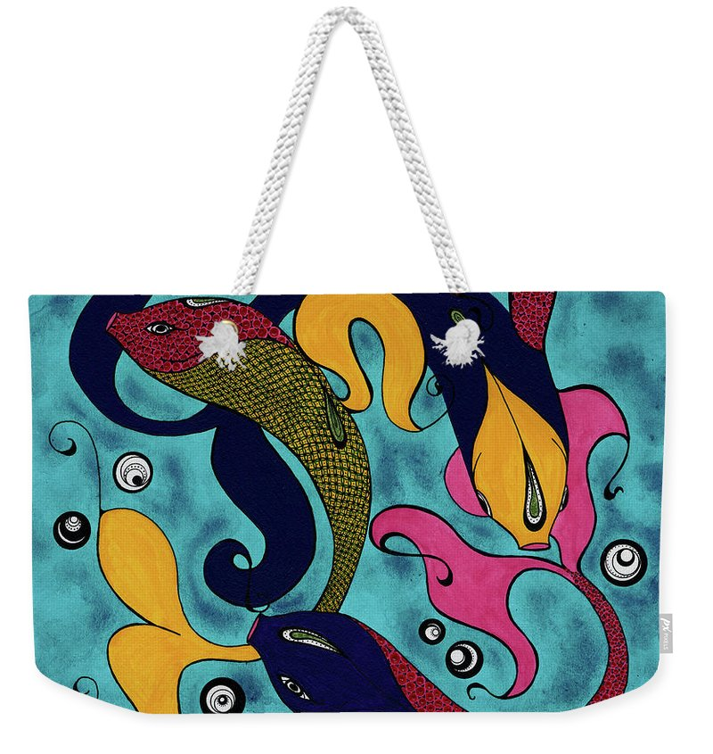 Fish Weekender Tote Bag featuring the drawing Water Dance by Michele Sleight