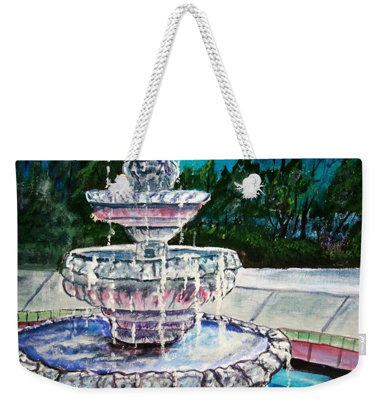 Acrylic Weekender Tote Bag featuring the painting Water Fountain Acrylic Painting Art Print by Derek Mccrea