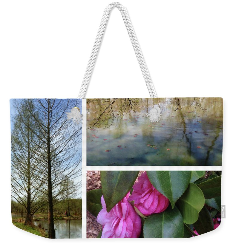 Weekender Tote Bag featuring the photograph Water Garden Three Views by Iris Posner