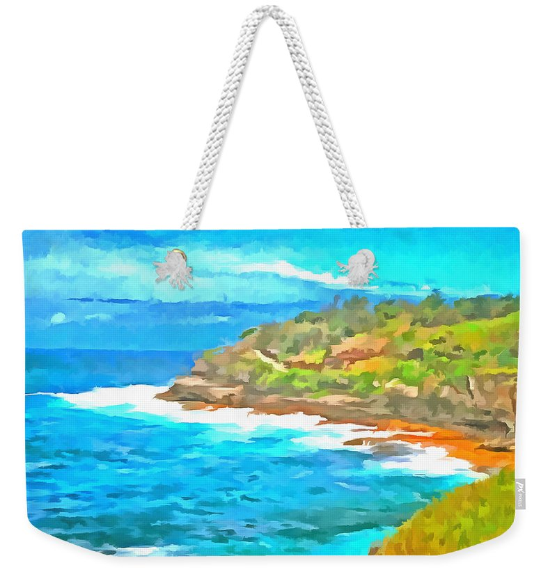 Cliffs Weekender Tote Bag featuring the photograph Water Gushing In On A Natural Cove by Ashish Agarwal
