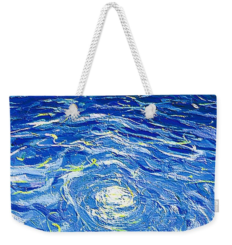 Pool Weekender Tote Bag featuring the mixed media Water in the pool by Dragica Micki Fortuna