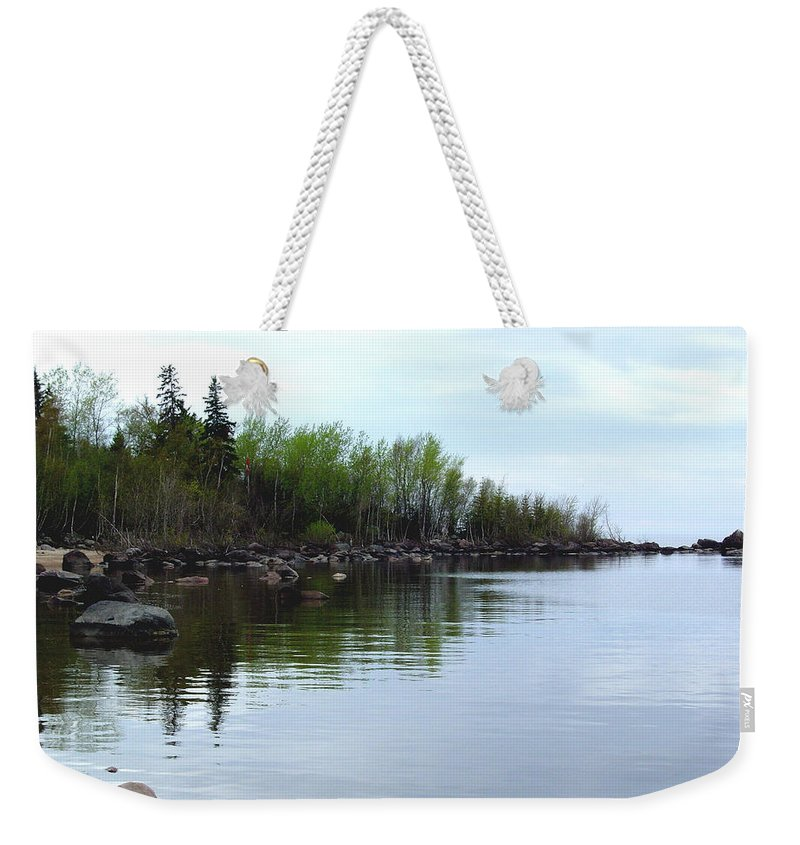 Grand Beach Shoreline Weekender Tote Bag featuring the photograph Water Like Glass by Joanne Smoley