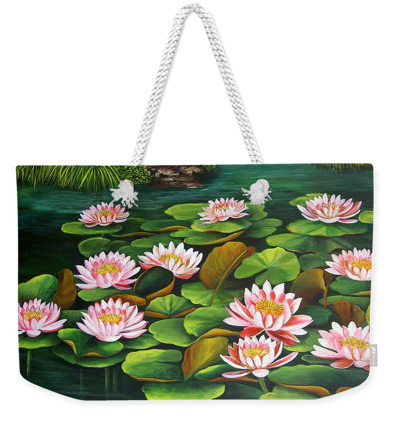 Floral Weekender Tote Bag featuring the painting Water Lilies by Dominica Alcantara
