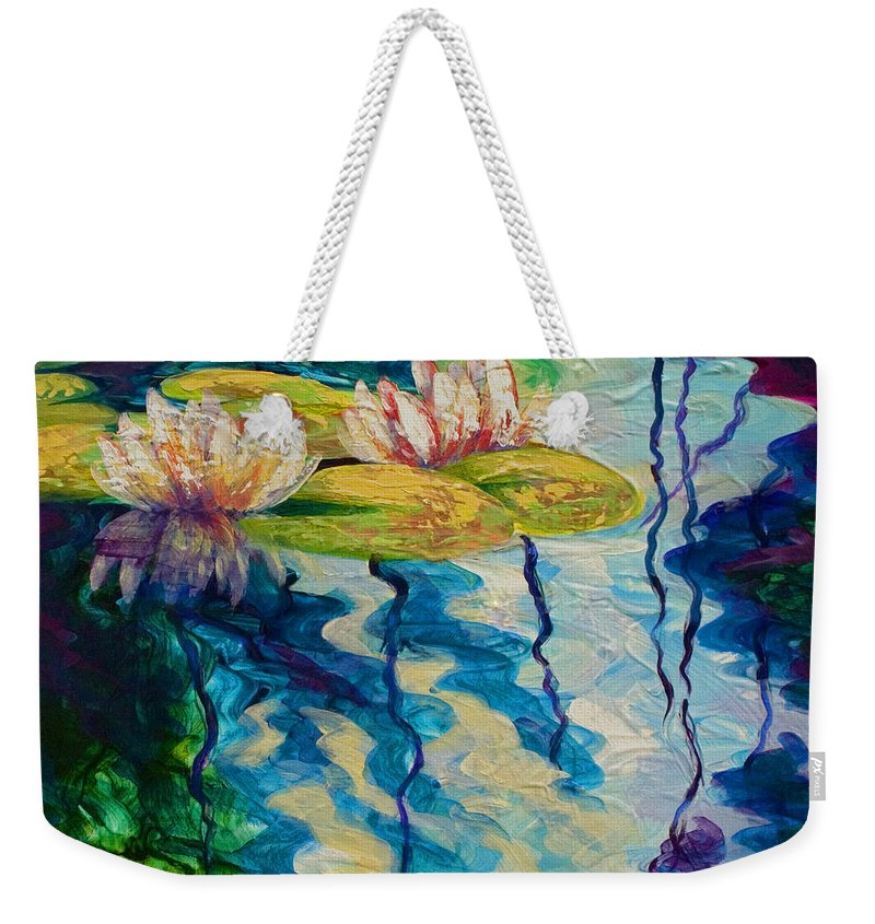 Water Lily Weekender Tote Bag featuring the painting Water Lilies I by Marion Rose