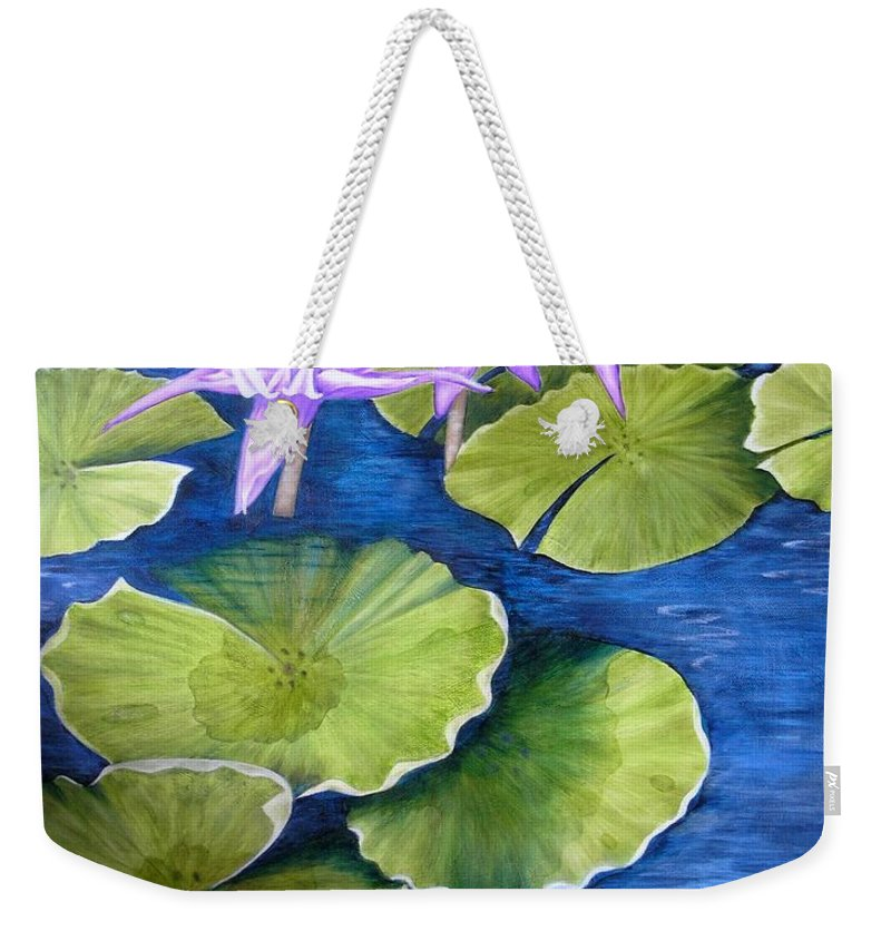 Water Lilies Weekender Tote Bag featuring the painting Water Lilies by Mary Deal