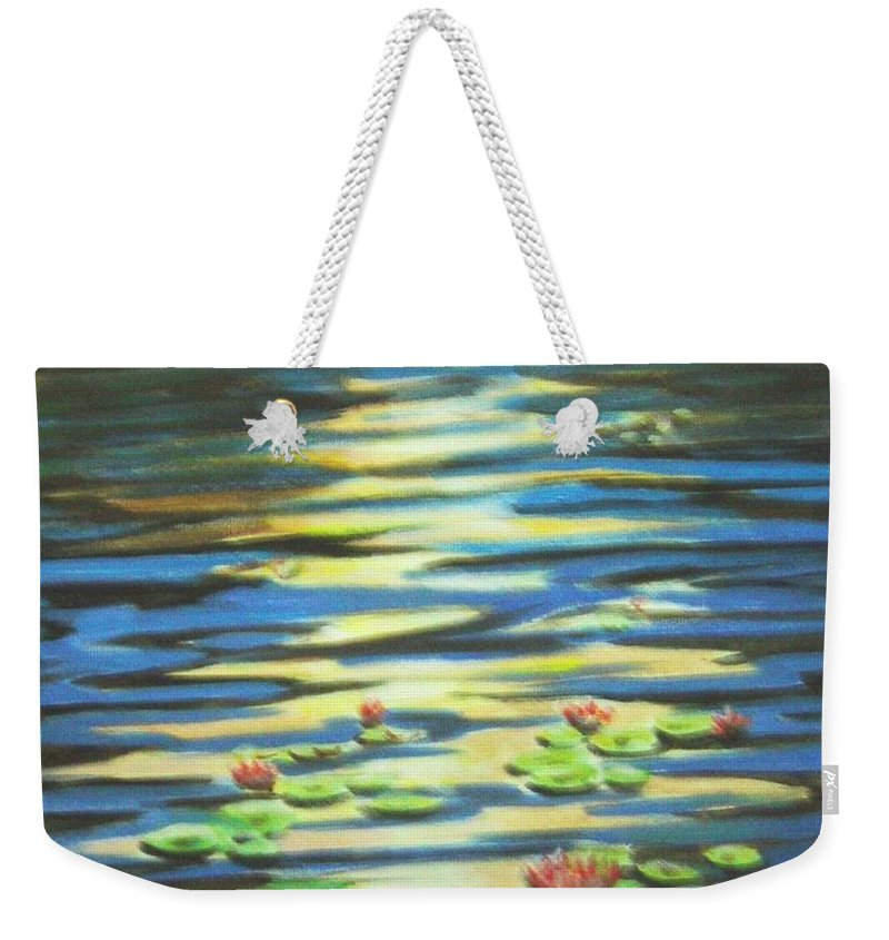 Dusk Weekender Tote Bag featuring the painting Water Lillies At Dusk by Usha Shantharam