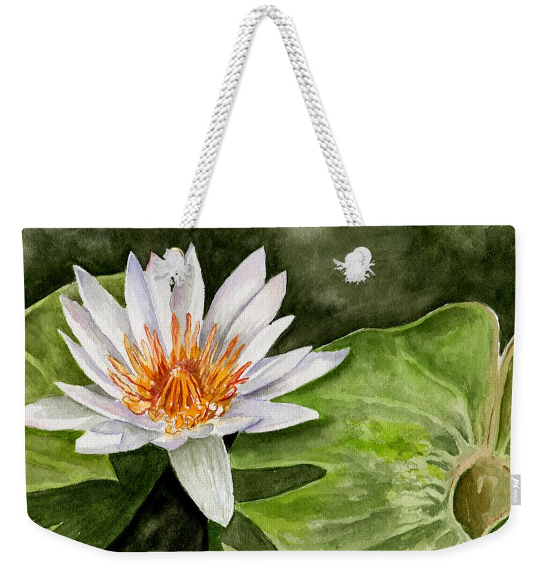 Flower Floral Water Lily Watercolor Weekender Tote Bag featuring the painting Water Lily by Brenda Owen