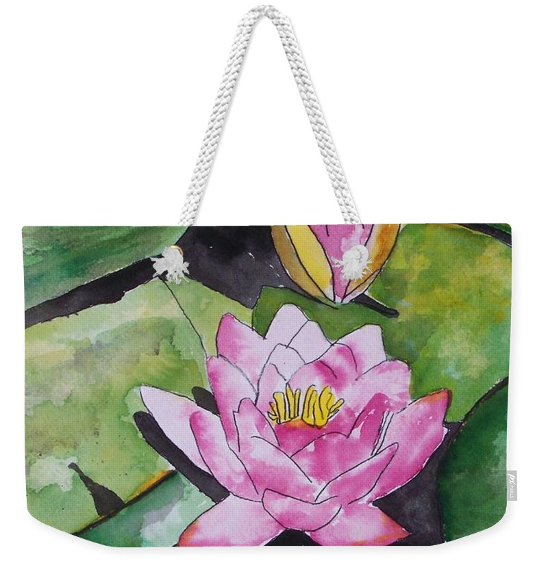 Water Lily Weekender Tote Bag featuring the painting Water Lily by Derek Mccrea