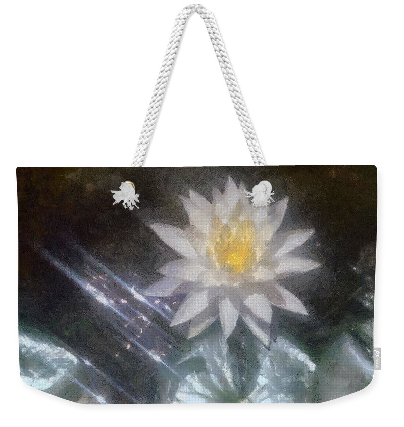 Water Lily Weekender Tote Bag featuring the painting Water Lily In Sunlight by Jeffrey Kolker