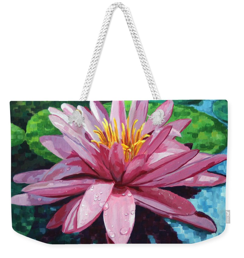 Landscape Weekender Tote Bag featuring the painting Water Lily by John Wallie