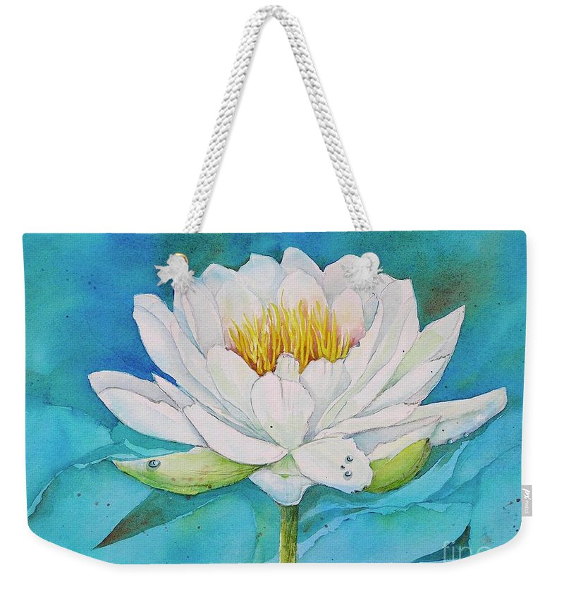 Water Lily Weekender Tote Bag featuring the painting Water Lily by Midge Pippel