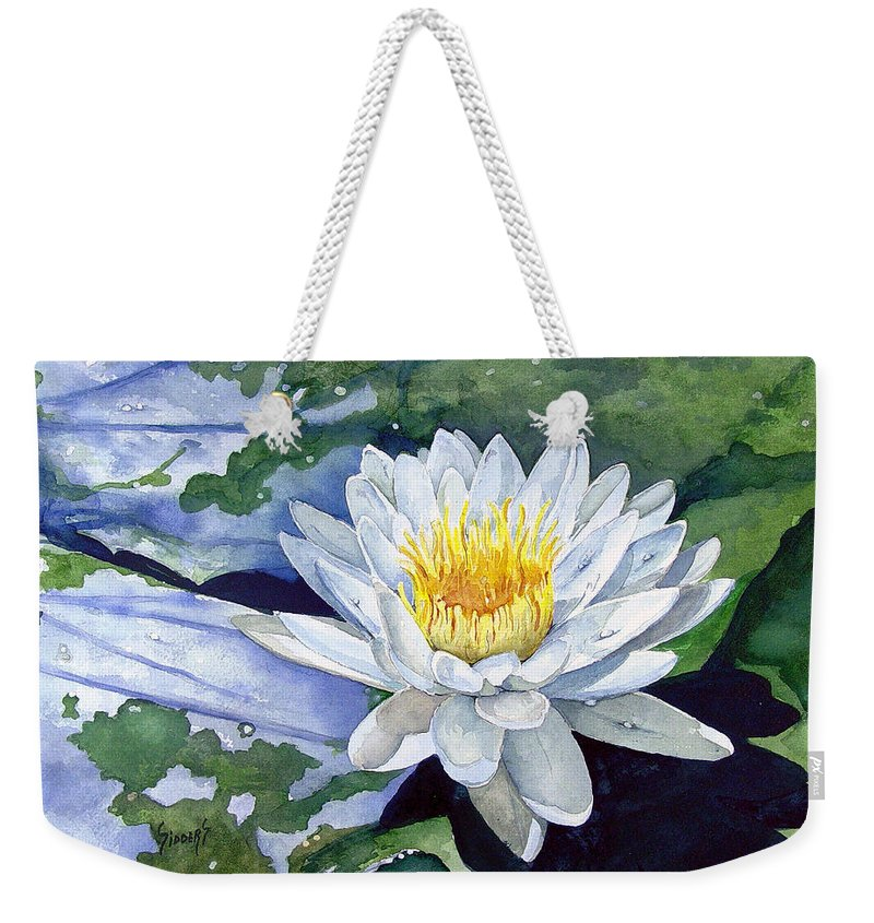 Flower Weekender Tote Bag featuring the painting Water Lily by Sam Sidders