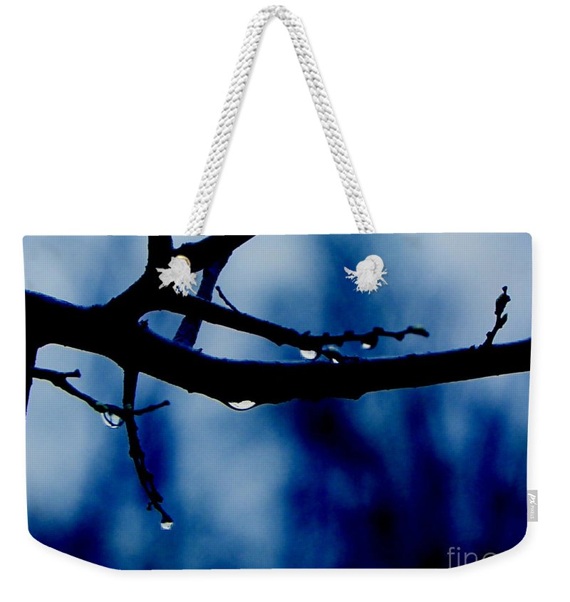 Branch Water Tree Drop Drops Photo Art Artist Artistic Landscape A An The Wet Dark Blue Branches Craig Walters On Of Photograph Weekender Tote Bag featuring the digital art Water On Branch by Craig Walters