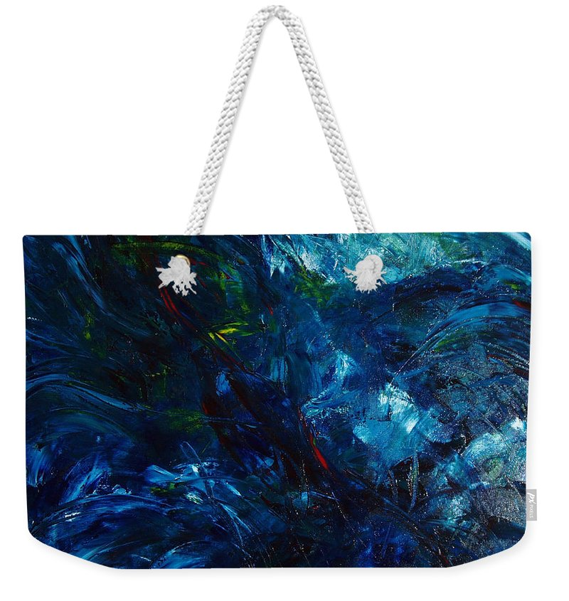 Water Weekender Tote Bag featuring the painting Water Reflections 1 by Nancy Mueller