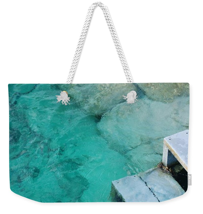 Water Blocks Bricks Weekender Tote Bag featuring the photograph Water Steps by Rob Hans