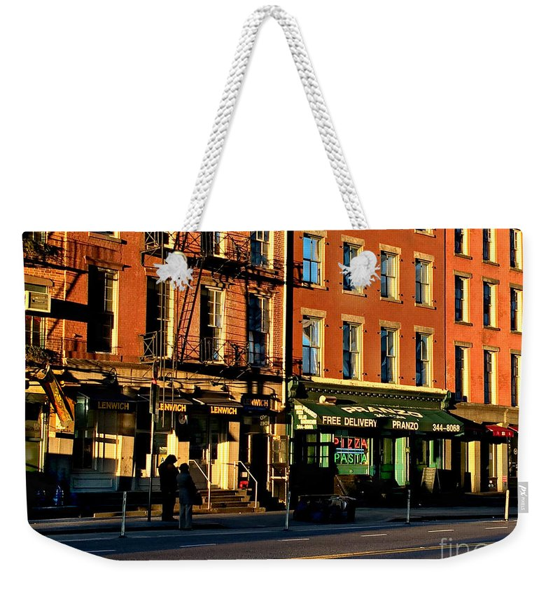 Water Street Weekender Tote Bag featuring the photograph Water Street At Dusk by Miriam Danar