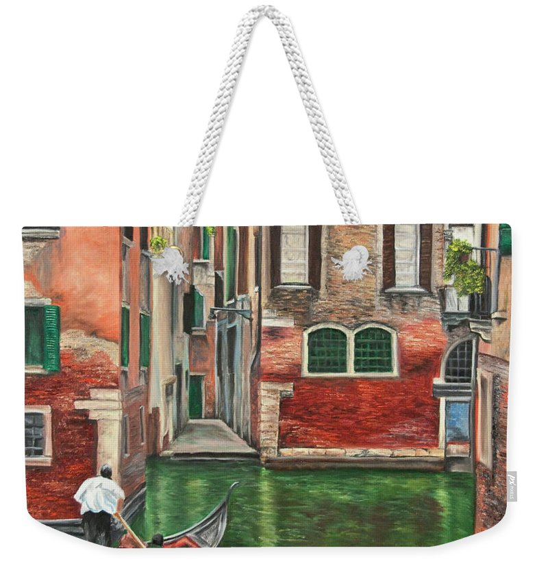 Venice Paintings Weekender Tote Bag featuring the painting Water Taxi On Venice Side Canal by Charlotte Blanchard
