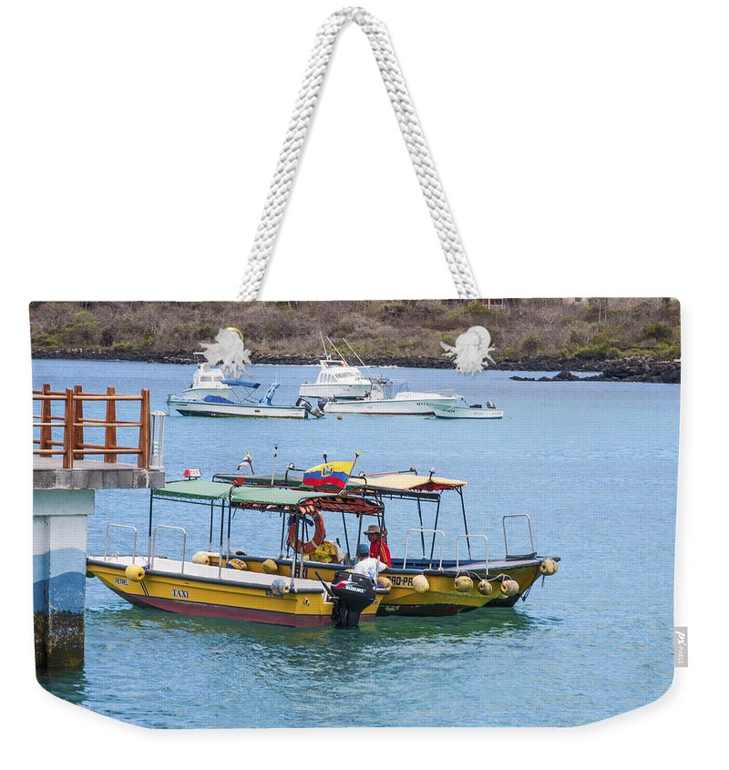 Water Taxis Weekender Tote Bag featuring the photograph Water Taxis Waiting by Sally Weigand