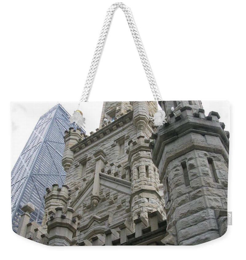 Chicago Weekender Tote Bag featuring the photograph Water Tower And Sears Tower by Brittany Horton