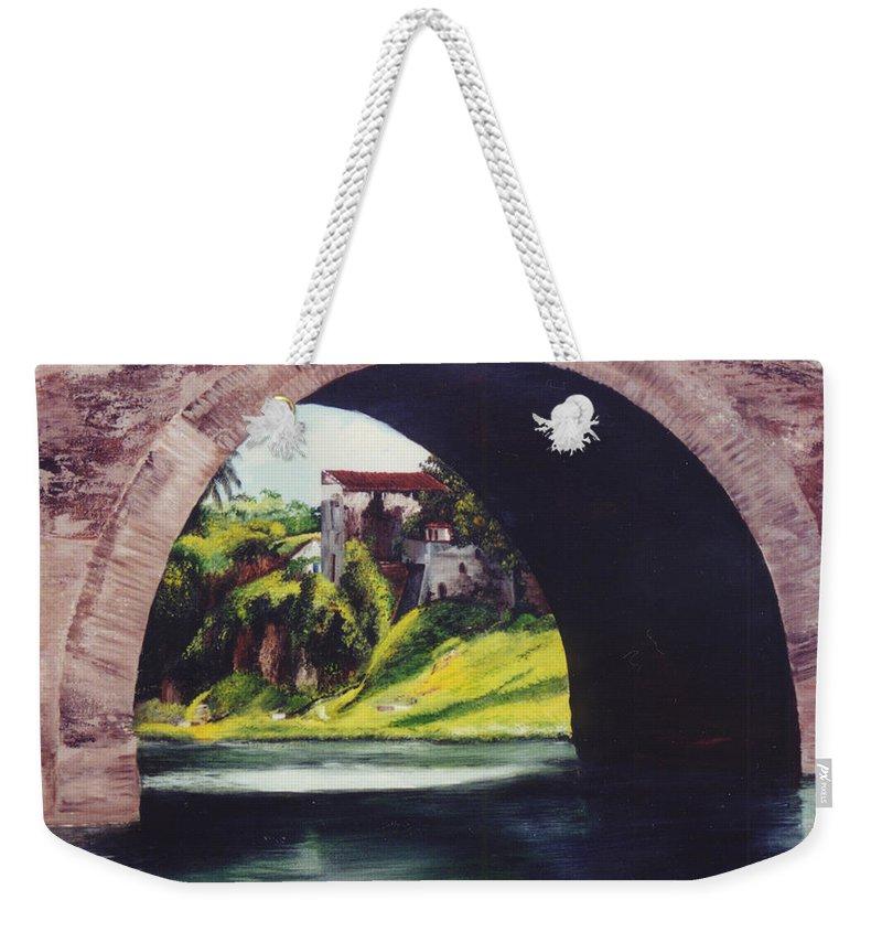 Bridge Weekender Tote Bag featuring the painting Water Under The Bridge by Dominica Alcantara