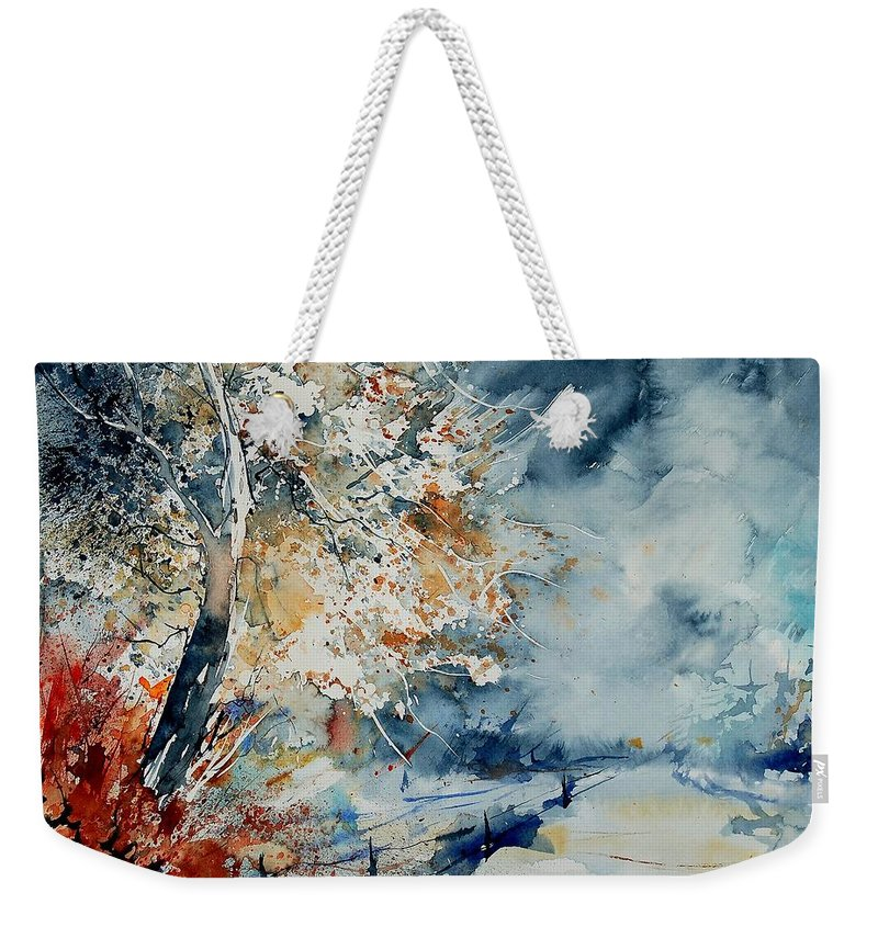 Landscape Weekender Tote Bag featuring the painting Watercolo 2407063 by Pol Ledent