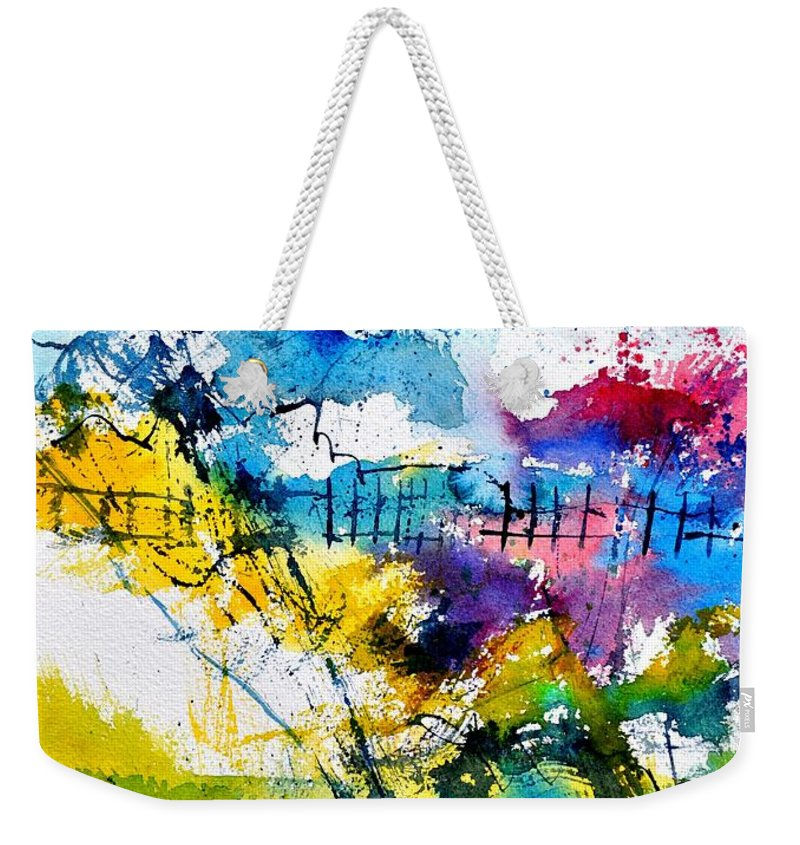 Abstract Weekender Tote Bag featuring the painting Watercolor 114052 by Pol Ledent