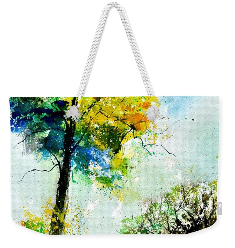 Landscape Weekender Tote Bag featuring the painting Watercolor 114062 by Pol Ledent