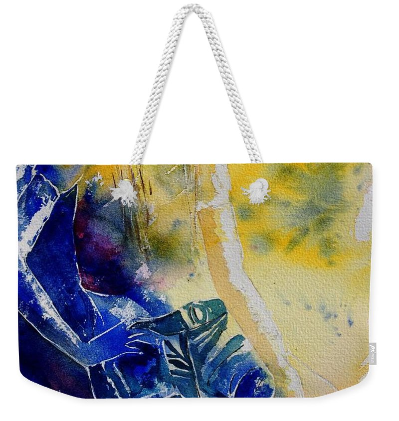 Girl Nude Weekender Tote Bag featuring the painting Watercolor 21546 by Pol Ledent