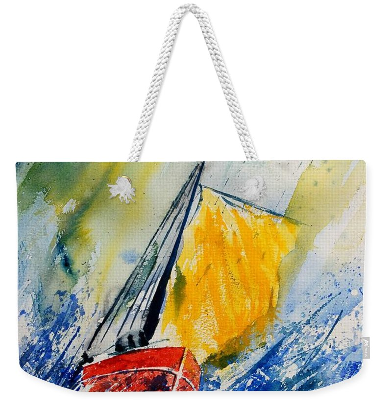 Sea Waves Ocean Boat Sailing Weekender Tote Bag featuring the painting Watercolor 280308 by Pol Ledent