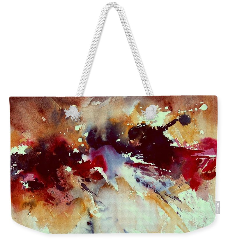 Abstract Weekender Tote Bag featuring the painting Watercolor 301107 by Pol Ledent
