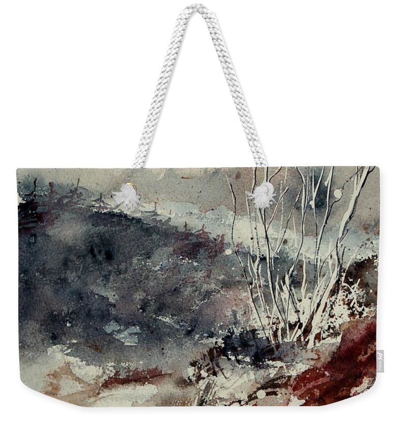 Snow Weekender Tote Bag featuring the print Watercolor 446 by Pol Ledent
