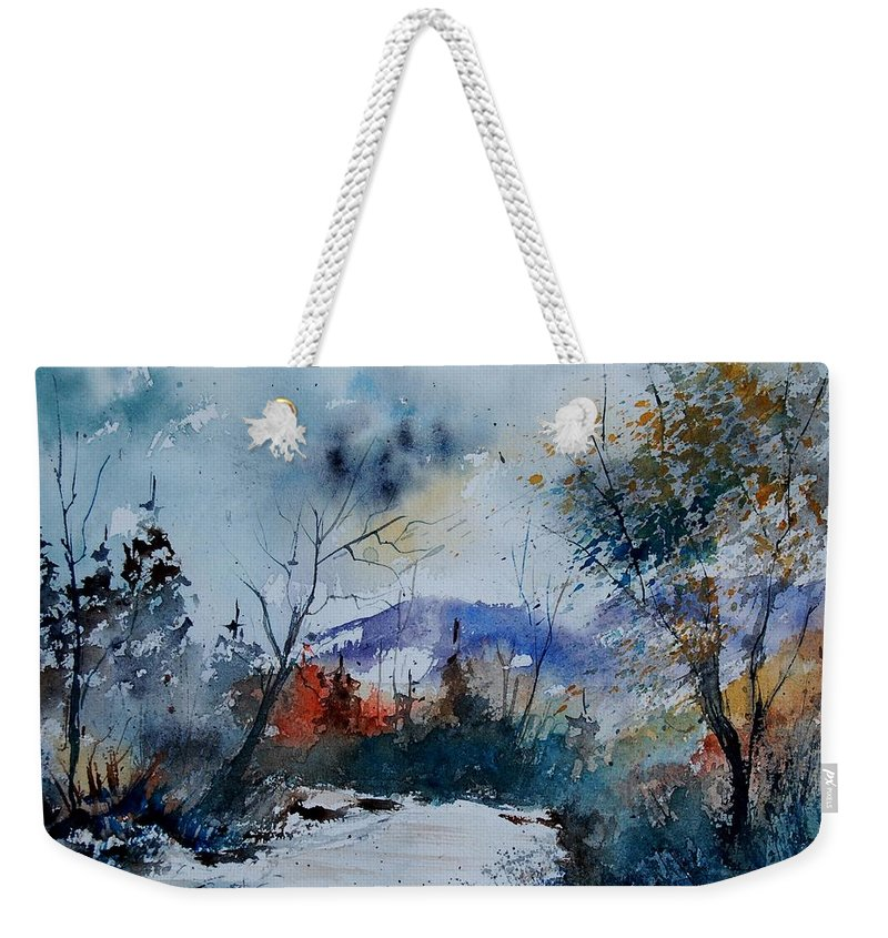 Landscape Weekender Tote Bag featuring the painting Watercolor 802120 by Pol Ledent