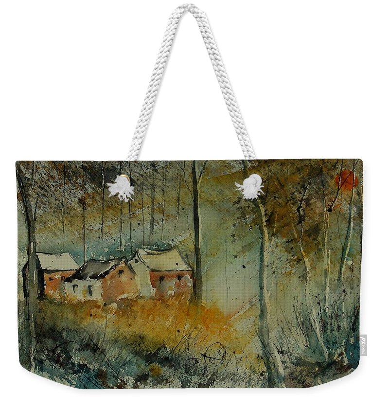 Landscape Weekender Tote Bag featuring the painting Watercolor 900170 by Pol Ledent