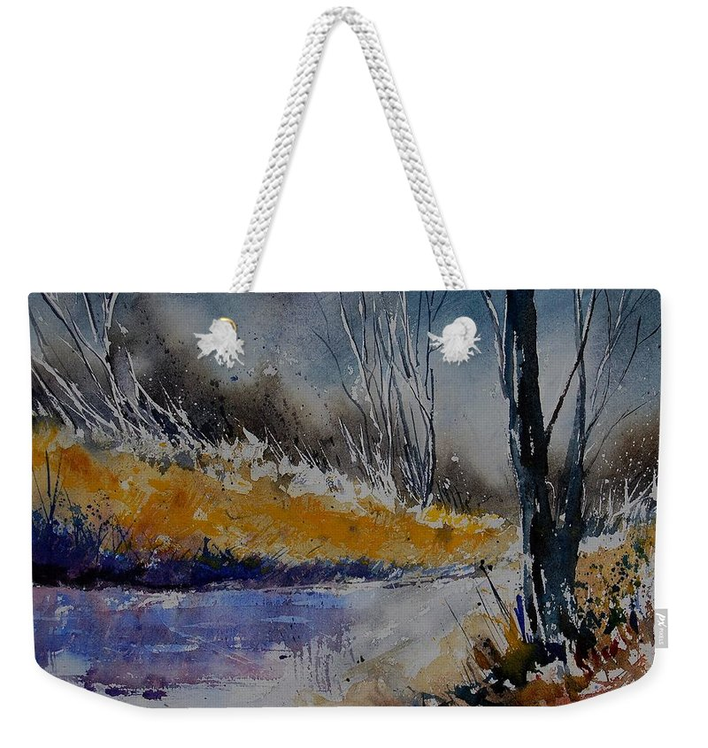 River Weekender Tote Bag featuring the painting Watercolor 902111 by Pol Ledent