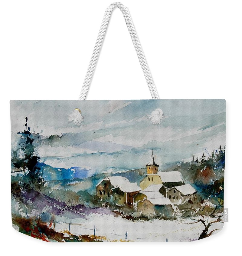 Winter Weekender Tote Bag featuring the painting Watercolor 908011 by Pol Ledent