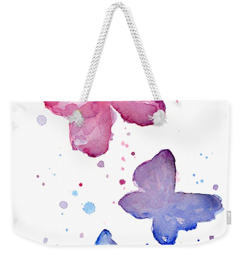 Watercolor Weekender Tote Bag featuring the painting Watercolor Butterflies by Olga Shvartsur
