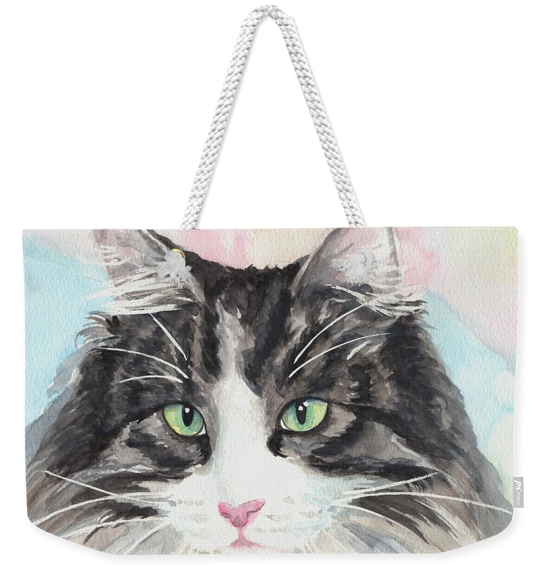 My Mater Cat Weekender Tote Bag featuring the painting Watercolor Cat 13 My Master by Kathleen Wong