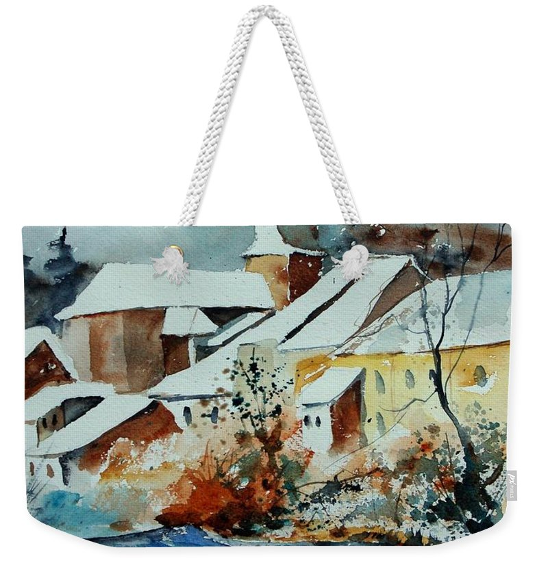 Landscape Weekender Tote Bag featuring the painting Watercolor Chassepierre by Pol Ledent