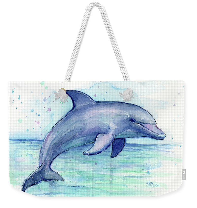 Dolphin Weekender Tote Bag featuring the painting Watercolor Dolphin Painting - Facing Right by Olga Shvartsur