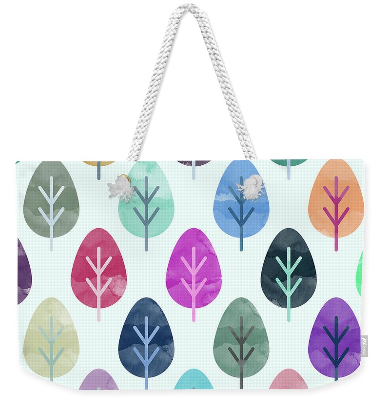 Watercolor Weekender Tote Bag featuring the digital art Watercolor Forest Pattern by Amir Faysal