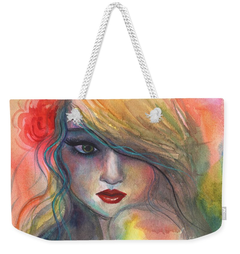 Girl Painting Weekender Tote Bag featuring the painting Watercolor Girl Portrait With Flower by Svetlana Novikova