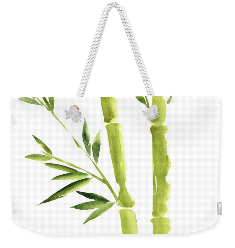 Painting Weekender Tote Bag featuring the painting Bamboo Stick Wall Paper Art, Watercolor Living Room Decor Illustration, Green Bamboo Leaves Painting by Joanna Szmerdt