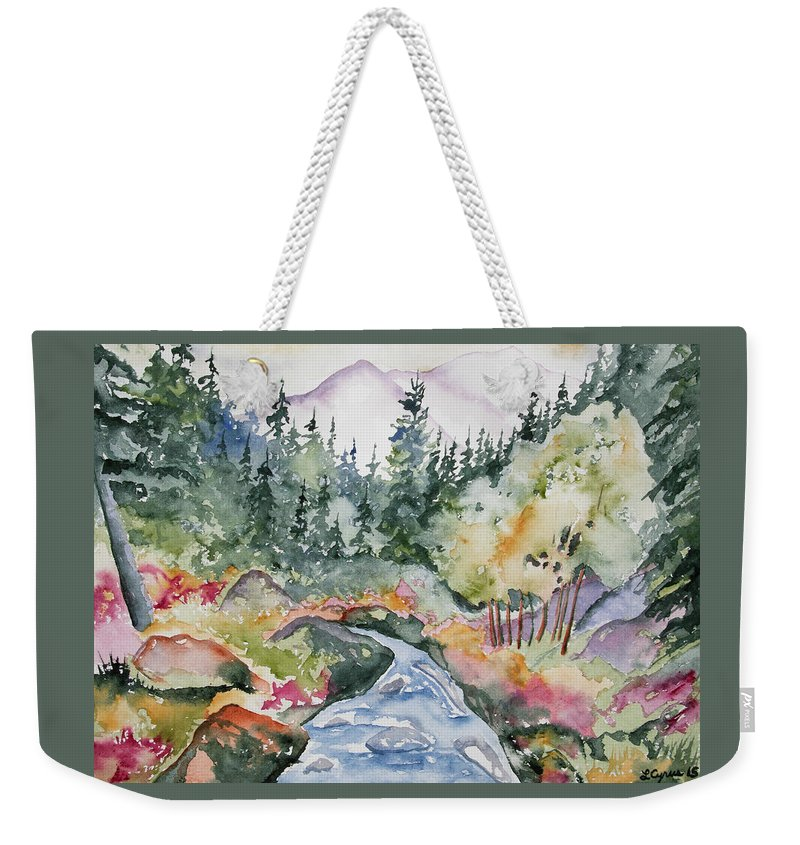 Long's Peak Weekender Tote Bag featuring the painting Watercolor - Long's Peak Autumn Landscape by Cascade Colors